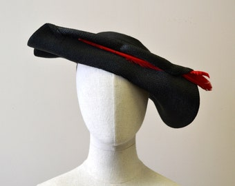 1940s Black Straw Hat with Red Feathers