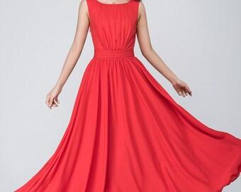 wedding dress, red chiffon dress, formal dress, party dress, prom dress, evening dress, maxi dress, vintage dress, bridesmaid dress  1555