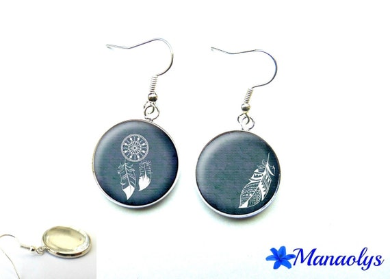 Earrings cabochon glass feather and catches dreams 2634