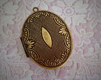 "Ready to Fill (Empty) Solid Perfume Locket, Antique Brass Finish, 44mm x 33mm, with Refillable Pan -- ""Gabriella""   SKU 1508"