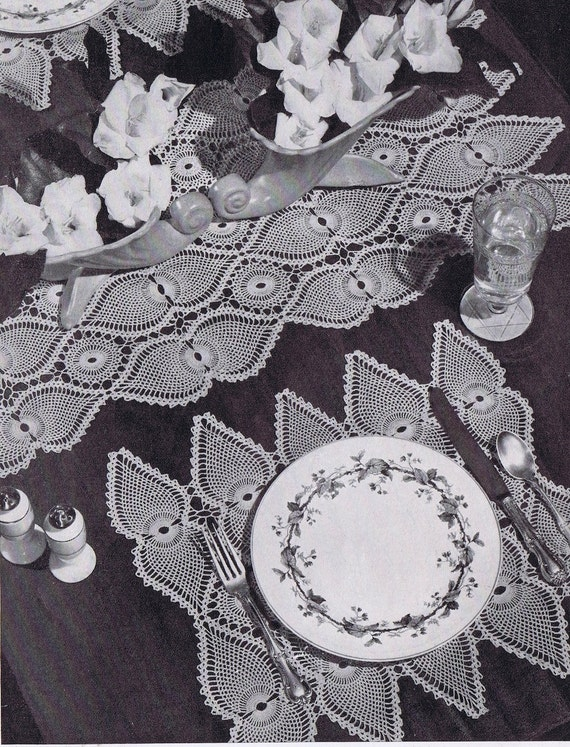 Pineapple Doily Vintage Crochet Pattern Placemat Table