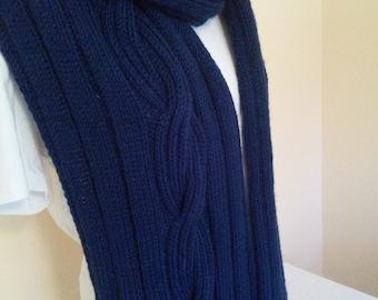 Hand Knit Scarf in Deep Blue Wool