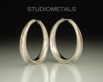 White Gold Hoop Earrings, 1 Inch Gold Hoops, 14K Gold Hoop Earrings, Medium Gold Hoop Earrings, Hammered Gold Hoops, Solid Gold Hoops, E162