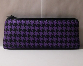 """Pipe Pouch, Houndstooth Bag, Pipe Case, Glass Pipe Bag, Padded Pipe Pouch, Purple Purse, Zipper Bag, 420, Pipe Cozy, Smoke Bag - 7.5"""" LARGE"""