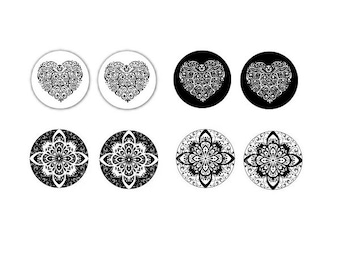 20mm, 4 pairs cabochons in black and white