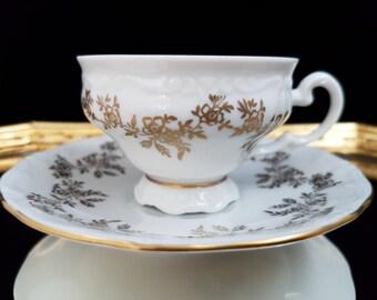 Vintage WEIMAR PORZELLAN Fine Porcelain Espresso or Mocca Cup & Saucer Set