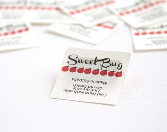 """210 - 1.5"""" x 1.5"""" -. In-seam fold style sewing label."""