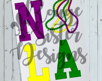 NOLA Mardi Gras Beads New Orleans SVG PNG Design