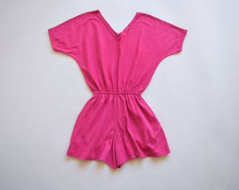 80s pink romper with pockets / size small - medium / cotton romper playsuit /  80s 90s jumpsuit romper