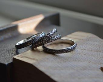 Pattern Ring, Stacking Ring, Floral Ring, Sterling Silver Ring band, Pattern Ring Band, Silver Pattern Ring, Sterling Stack Ring