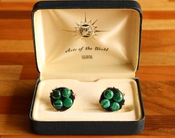 Malachite Cuff Links from SWANK - Arts of the World - Vintage Cufflinks in Original Presentation Box