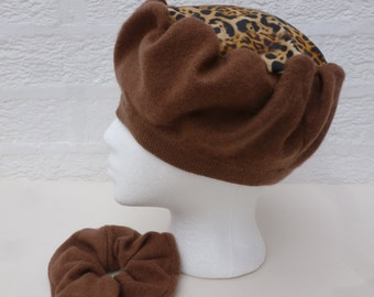 Tan cashmere tam hat Eco chic handmade accessory Soft hair tie and hat gift for her cashmere accessories set. Ooak headwear womens gift set.