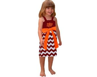 Orange + Maroon Chevron Dress- Girls