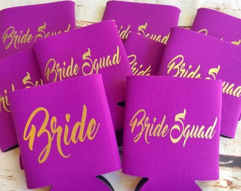 Bridesmaids Can Coolers - Bride Squad - Bachelorette Party Favors - Bachelorette Party Gifts - Bridesmaids Gifts - Gift for Bride