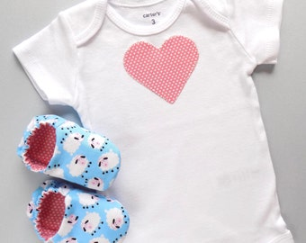 Heart Baby Girl Onesie with Baby Shoes, Onesie Size- 3 mos, Shoe Size: 0-6 mos, Baby Girl One Piece, Baby Shoes with Sheep, Baby Girl Gift