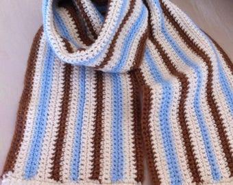 Crochet scarf has ecru stripes blue and Brown