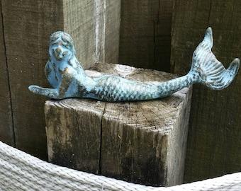 Cast Iron Mermaid - Outdoor Garden Decoration, Beach Decor, Nautical Wedding, Little Mermaid, Gift for Her, Nautical Nursery, Mermaid Lover