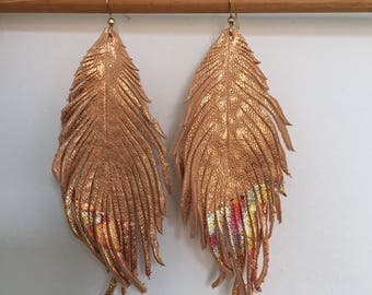 Copper and gold leaf LEATHER feather earrings with gold leaf tips metallic leather earrings lightweight dangle earrings