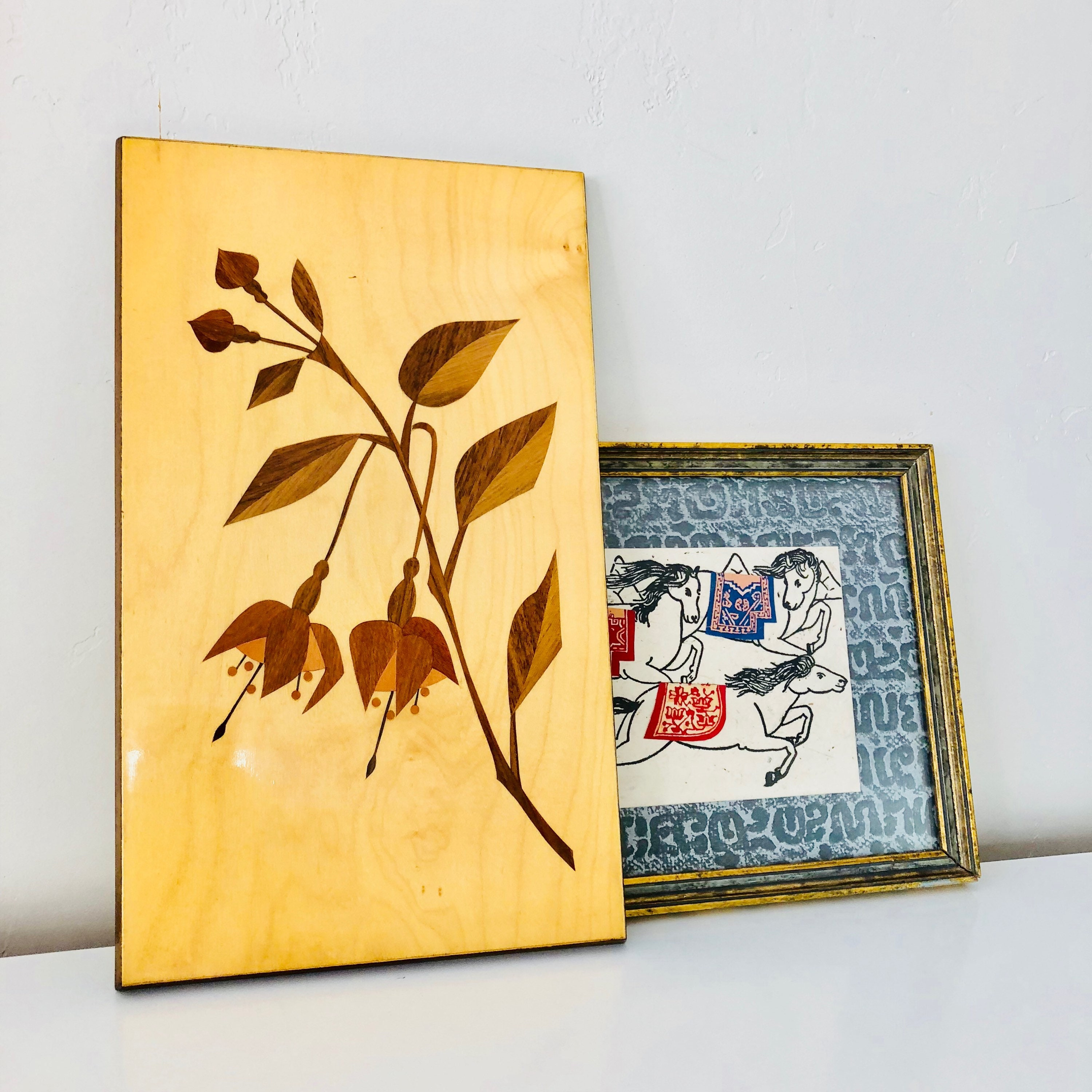 Vintage Wooden Wall Art Intarsia Inlaid Marquetry German Wood Wall ...