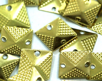 160 pcs raw brass 9 mm square tag two 2 hole connector charms, findings 508R-48