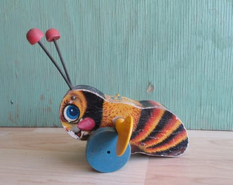 Vintage Pull Toy Fisher Price Buzzy Bee from the 1950's