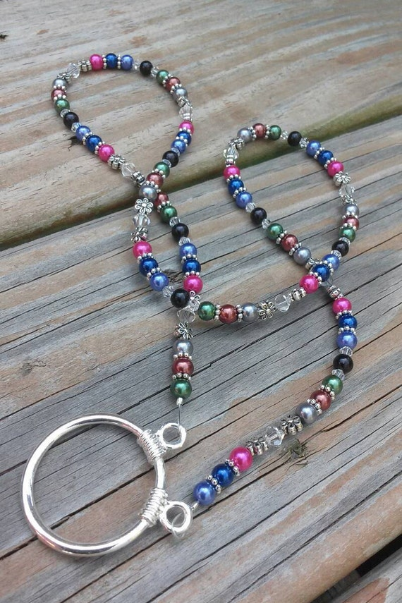 Eyeglass Ring Necklace,  Eyeglass Chain Necklace Holder, Chain for Glasses, Holder for Reading Glasses, Beaded Lanyard