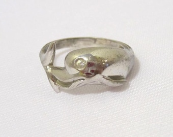 Vintage Sterling silver CZ Dolphin Band Ring Size 7
