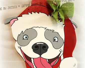 Rescue Pitbull Santa Wooden Door Hanger