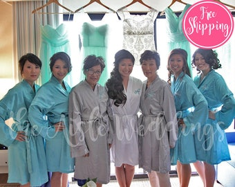 SOLID SATIN ROBE - Teal Satin Robe - Bridesmaids Gifts - Bridesmaid Robes - Wedding Robes - Bridal Party Robe - Spa Robe - Honeymoon Robe