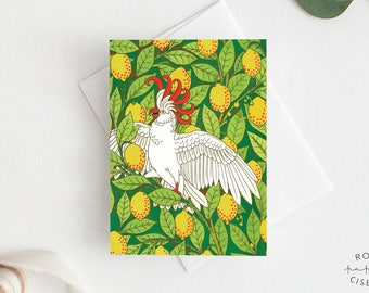 Greeting Card Cockatoo // Invitation Card, Birthday Card, All Occasion, Illustration, Bird, Parrot, Lemon