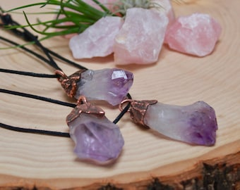 Raw Amethyst Pendant Necklace // Adjustable Necklace //Raw Crystal // Amethyst Point // Electroformed Pendant //  Raw Stone Necklace