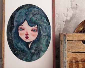 ANDROMEDA - A pop surrealist watercolor Danita painting inspired by the night sky. Available in signed posters and mounted wall art ready
