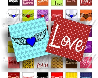 Pure Love 1x1 inch for pendant, scrapbook and more Digital Collage Sheet No.1423