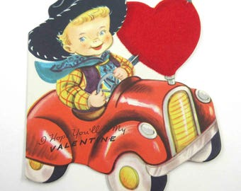 Vintage Children's Novelty Valentine Card with Cute Little Blonde Boy Cowboy in Red Car with Flocked Heart by Whitman