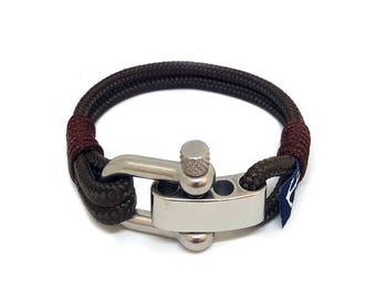 Brown Bran Marion Adjustable Nautical Bracelet  | Handmade in Ireland | Unisex Bracelet | schackel armband | Schnur Armband