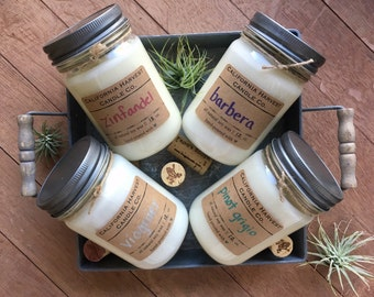 Wine Scented 12 oz. Soy Candle Bundle - 4 Pack//Zinfandel//Barbera//Pinot Grigio//Viognier