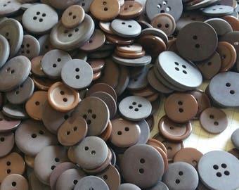 Dark Brown Buttons - Assorted Sewing Bulk Button - 100 Buttons - Dark Chocolate