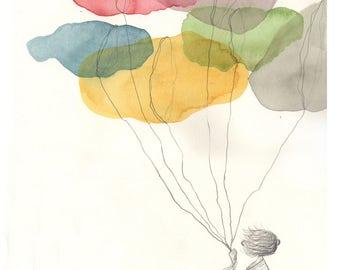 Print child clouds, colors, cloud, color, chidren, multicolor