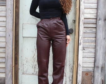 High waisted Burgundy Leather Pants / Made in italy
