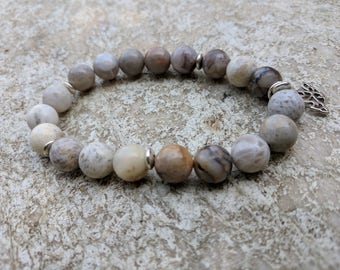 Natural Bamboo Leaf Agate  Beaded Bracelet with Filigree Bird Charm