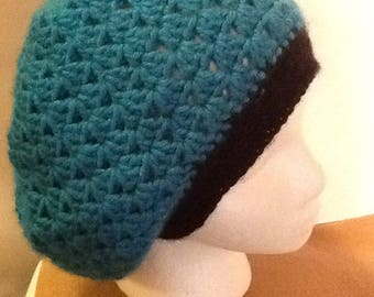 Crocheted Turquoise and Black Trim Slouchy Beanie