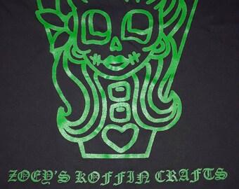 ZKC Green Logo Silkscreen on Black T-Shirt--Sizes M/L/XL