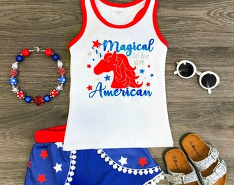 4th of july unicorn pompom shorts and tank top set. Free shipping USA