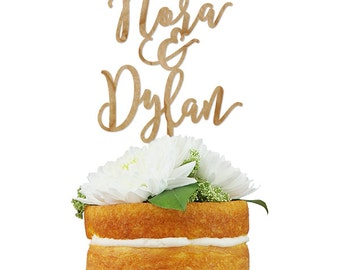 Custom Wedding Name Cake Topper- Custom Saying Calligraphy/Hand-letttered Wedding Cake Topper with  for Wedding, Birthday or Anniversary
