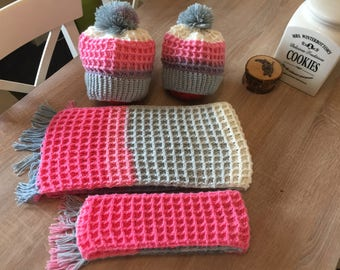 Mummy & Me, hat and scarf set, winter set, scarf pink grey, mommy and me scarf, mother and child set, winter hat