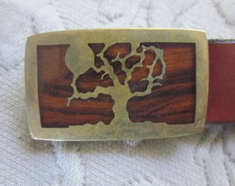 gorgeous brass and wood buckle, tree of life, w/leather belt