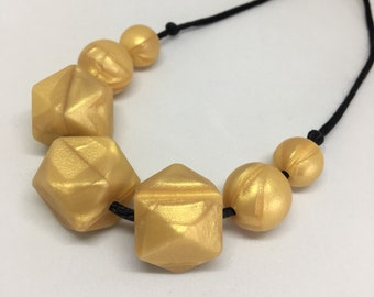 Gold - metallic gold geometric beads TEETHING and NURSING necklace Silicone BPA Free food grade silicone Mama jewellery Mother necklace