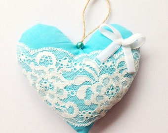 Baby blue shabby chic hanging heart, perfect for new baby gift, wedding favour, or decoration
