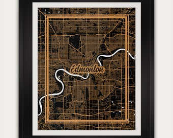 Edmonton - Alberta - Canada - Minimalist City Map Art Print - 11x14 Inches - Office Living Room Alternative Art Deco Home Decor Poster
