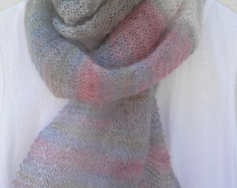 KNIT SHAWL PATTERN Womens Handmade Knitted Scarf Shawl Knitting Pattern 50th Birthday Gift Bestfriend Gift for Women Mom Graduation Gift